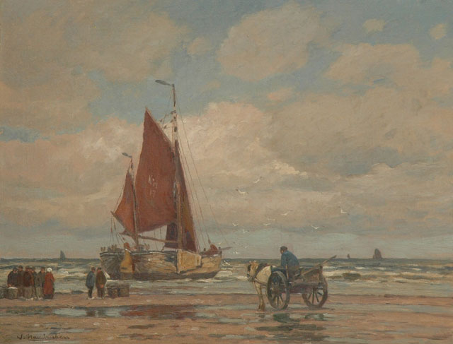 Wilhem Hambüchen | Moored fishing boat on the beach of Katwijk, oil on canvas, 62.5 x 81.5 cm, signed l.l.
