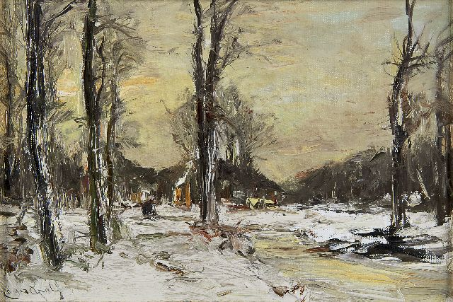 Louis Apol | A winter landscape with farm, oil on canvas laid down on panel, 23.4 x 34.1 cm, signed l.l.