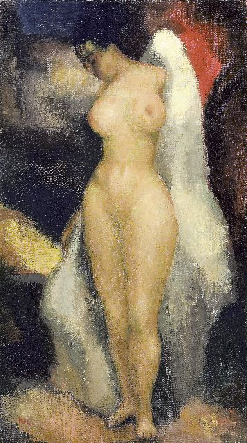 Kelder A.B.  | Female nude, oil on canvas 47.3 x 27.5 cm, signed l.l.