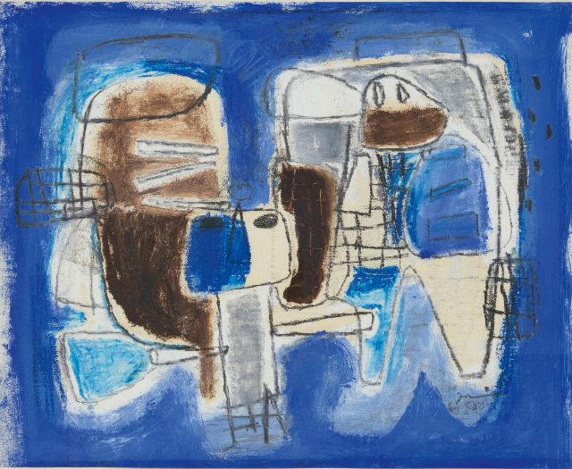 Jaap Nanninga | Composition with two figures, pencil and gouache on paper, 40.0 x 50.0 cm, signed l.r. and dated '58