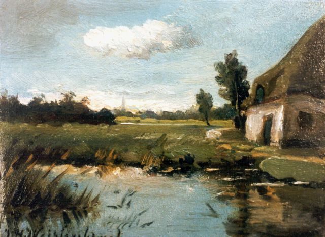 Jan Hendrik Weissenbruch | A view of a pond by a farm, oil on panel, 7.0 x 9.2 cm, signed l.l.
