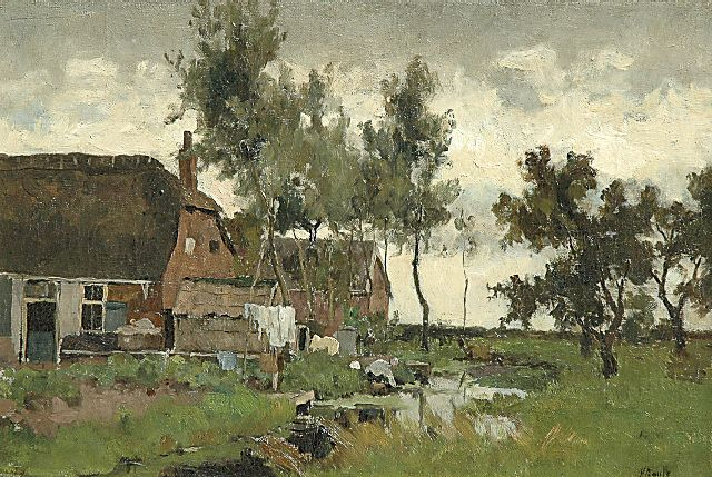 Victor Bauffe | Landscape with a washerwoman by a waterway, oil on canvas, 33.7 x 49.6 cm, signed l.r.