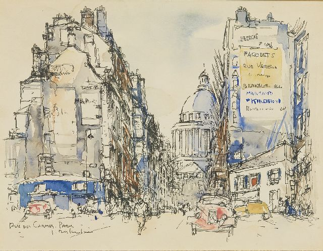 Jan Rijlaarsdam | The Rue des Carmes, Paris, with a Citroën Traction Avant, pen, ink and watercolour on paper, 18.9 x 24.2 cm, signed l.l. and executed in the 1950s