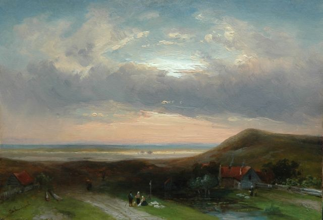 Charles Leickert | A summer evening in the dunes, oil on panel, 23.7 x 33.0 cm, signed l.l.
