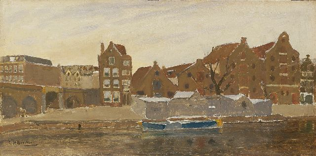 George Hendrik Breitner | The view from the painter's studio on the Bickers island, Amsterdam, oil sketch on panel, 22.2 x 45.3 cm, signed l.l. and painted ca. 1902-1905