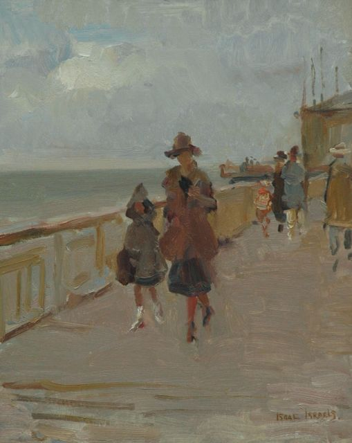 Israels I.L.  | Parading on the Scheveningen Pier, oil on canvas 50.3 x 40.0 cm, signed l.r.