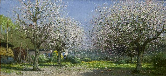 Cornelis Kuijpers | Blossoming orchard, oil on canvas, 61.4 x 130.0 cm, signed l.r.