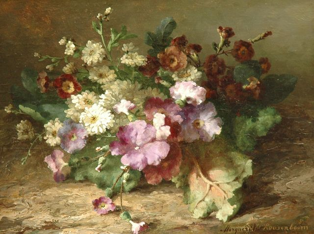 Margaretha Roosenboom | A flower still life, oil on paper laid down on panel, 25.0 x 33.1 cm, signed l.r.