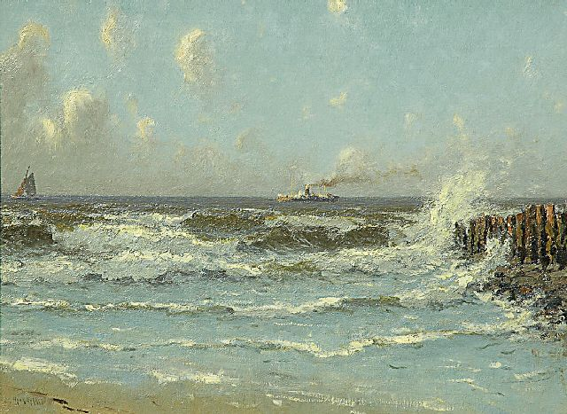 Henk Dekker | Ships off the North Sea coast, oil on canvas, 43.0 x 58.0 cm, signed l.l.
