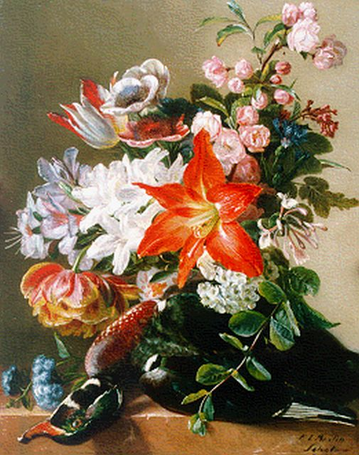 Francina Louise Schot | A flower still life, oil on panel, 43.5 x 34.8 cm, signed l.r.