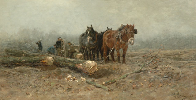 Anton Mauve | Timber wagon with horses, oil on canvas, 106.6 x 205.8 cm, signed l.r. and dated '77