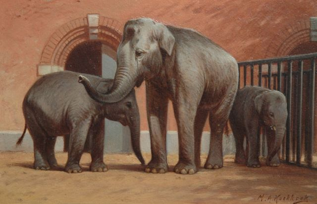 Marinus Adrianus Koekkoek II | Elephants in the Amsterdam zoo, oil on paper laid down on board, 16.6 x 25.4 cm, signed l.r.