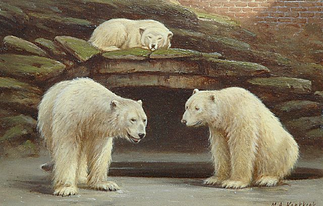 Marinus Adrianus Koekkoek II | Polar bears in the Amsterdam zoo, oil on paper laid down on board, 16.6 x 25.2 cm, signed l.r.