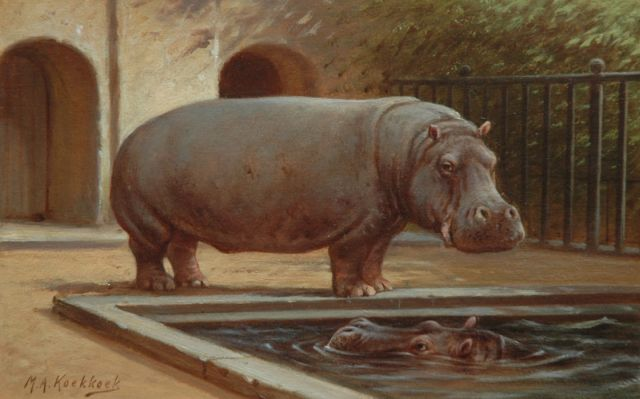 Marinus Adrianus Koekkoek II | Two hippopotamus in the Amsterdam zoo, oil on paper laid down on board, 16.4 x 25.3 cm, signed l.l.