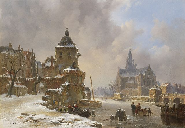 Bart van Hove | A town view in winter with frozen waterway, oil on panel, 34.2 x 48.5 cm, signed l.l.