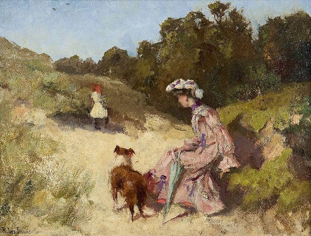 Robert Ives Browne | A summer day in the dunes, oil on canvas laid down on board, 34.2 x 46.0 cm, signed l.l.