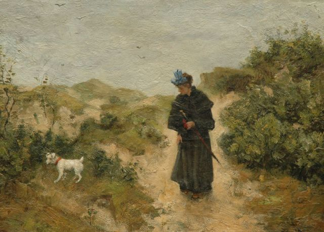 Robert Ives Browne | Walking the dog, oil on canvas laid down on board, 31.7 x 44.0 cm, signed l.r.