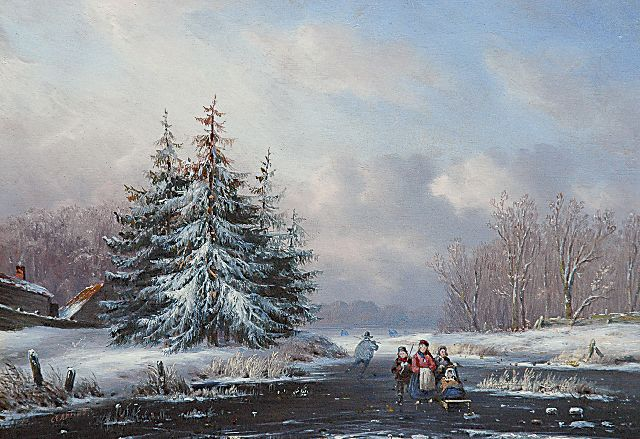 Carl Eduard Ahrendts | A snowy landscape with skaters and a sledge, oil on panel, 18.2 x 25.9 cm, signed l.l.