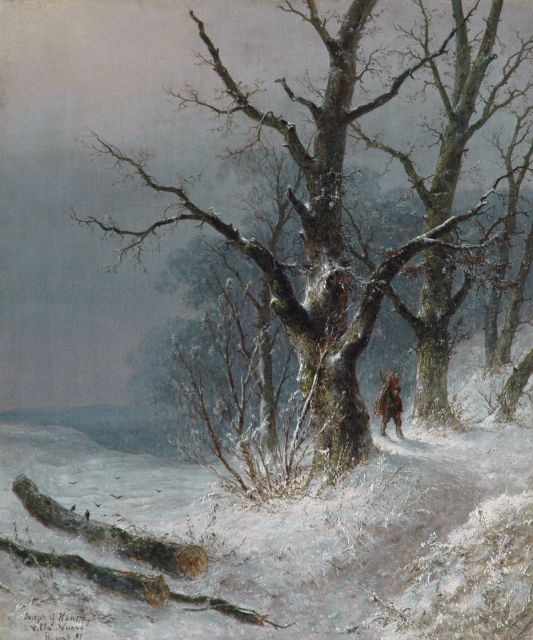 Josephus Gerardus Hans | A wood-gatherer in a snowy forest, oil on canvas, 55.3 x 46.2 cm, signed l.l. and dated '87