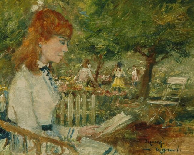 Rolf Dieter Meyer-Wiegand | Reading girl in a public garden, oil on canvas laid down on panel, 12.7 x 15.8 cm, signed l.r.
