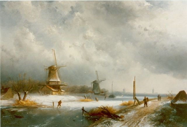 Charles Leickert | Dutch winterlandscape with skaters, oil on panel, 29.6 x 47.8 cm, signed l.r.