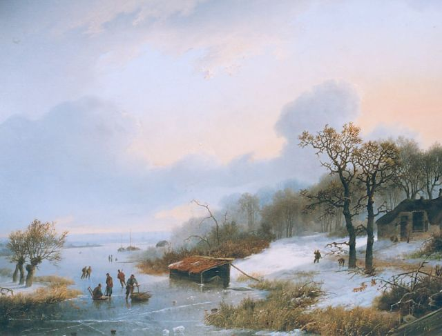 Koekkoek I M.A.  | Winter landscape with skaters on a frozen river, oil on panel 28.2 x 36.0 cm, signed l.r. and dated 1842