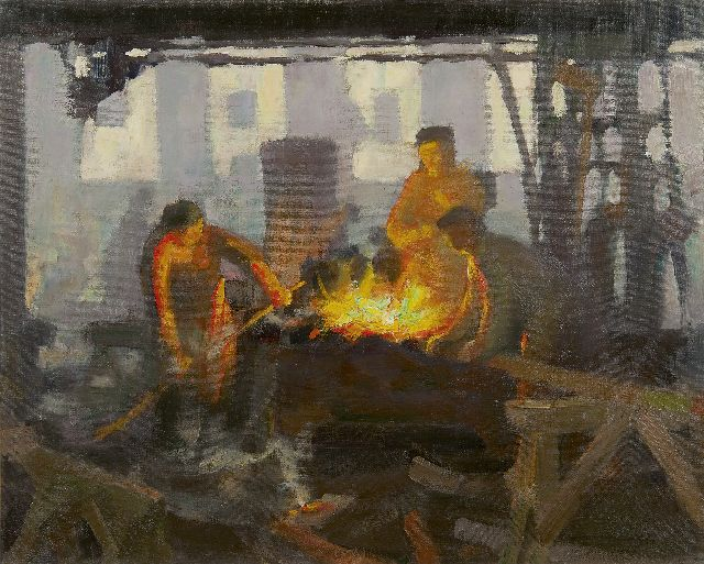 Louis Heijmans | The iron foundry Boddaert in Middelburg, oil on canvas, 40.2 x 50.2 cm