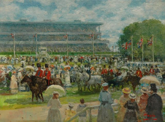 Rolf Dieter Meyer-Wiegand | At the races (Ascot), oil on canvas, 18.0 x 23.8 cm, signed l.r.