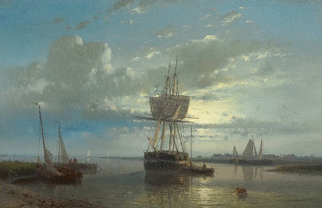 Abraham Hulk | Moored sailingships at sunset, oil on panel, 16.6 x 25.3 cm, signed l.l.