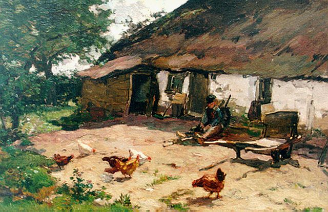 Johannes Evert Hendrik Akkeringa | A farmyard with chickens, oil on canvas, 40.0 x 62.3 cm, signed l.l.