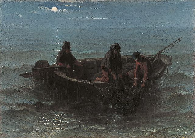 Jozef Israëls | Bringing in the catch at night, oil on panel, 32.5 x 46.1 cm, signed l.l. and painted circa 1861-1864