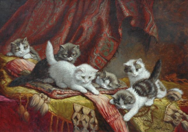 Cornelis Raaphorst | Six playing kittens on a pillow, oil on canvas, 50.3 x 70.4 cm, signed l.r.