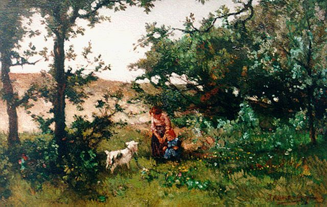 Johannes Evert Hendrik Akkeringa | Feeding the goat in the dunes, oil on canvas, 27.0 x 41.3 cm, signed l.r.