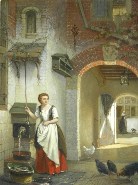 Johannes Anthonie Balthasar Stroebel | A kitchen-maid by a well, oil on panel, 26.1 x 20.4 cm, signed l.r.