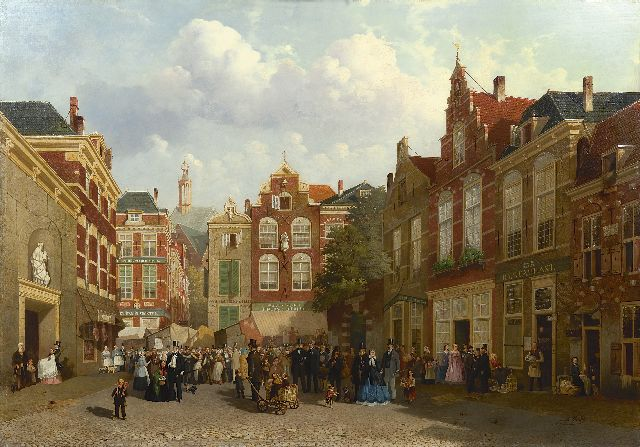 Joseph Bles | A fair on the Grote Markt in The Hague with the St. Jacobskerk in the distance, oil on panel, 83.1 x 118.0 cm, signed l.r.
