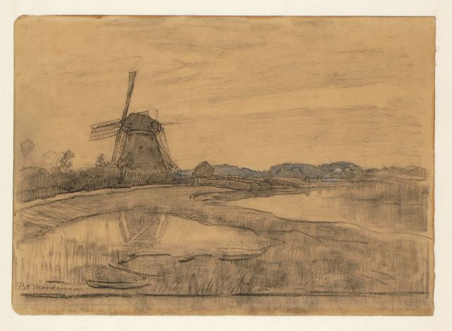 Mondriaan P.C.  | The Oostzijdse Molen on the river Gein near Abcoude, black and white chalk on paper, 24.5 x 36.0 cm, signed l.l. and dated 1903