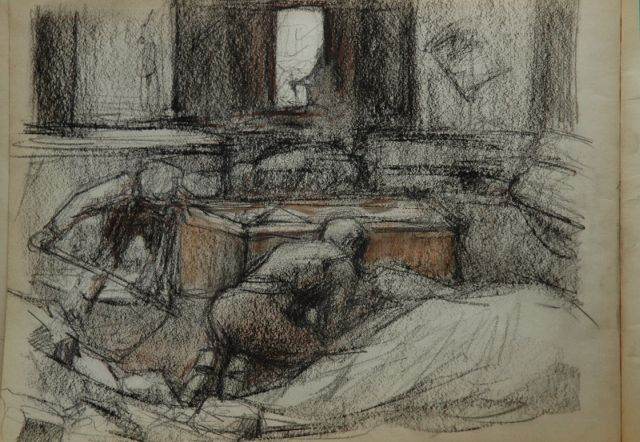 Louis Heijmans | Sketchbook with drawings of the iron foundry Boddaert, chalk on paper, 23.3 x 31.0 cm, executed ca. 1922