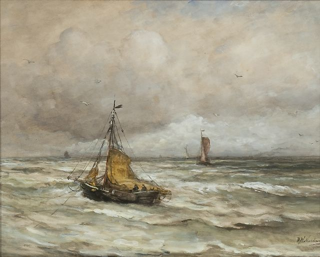 Hendrik Willem Mesdag | At anchor in the surf, watercolour and gouache on paper, 44.5 x 55.4 cm, signed l.r.