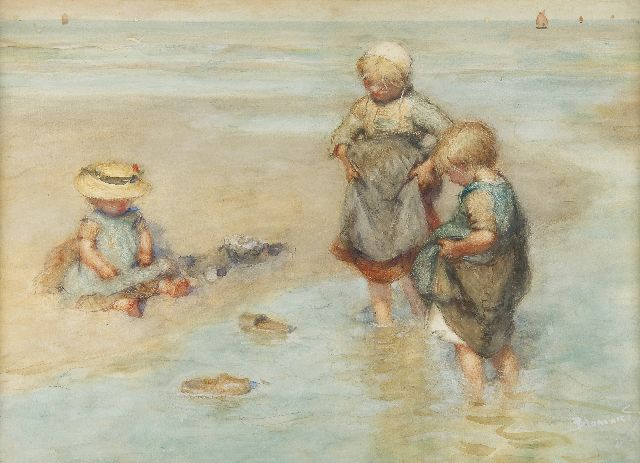 Bernard Blommers | Children playing boat, chalk and watercolour on paper, 40.2 x 55.6 cm, signed l.r.