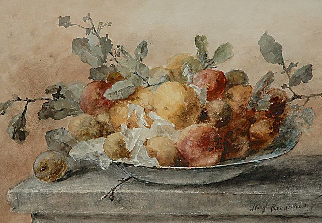 Margaretha Roosenboom | A still life with fruit and twigs on a plate, watercolour and gouache on paper, 46.6 x 66.3 cm, signed l.r.