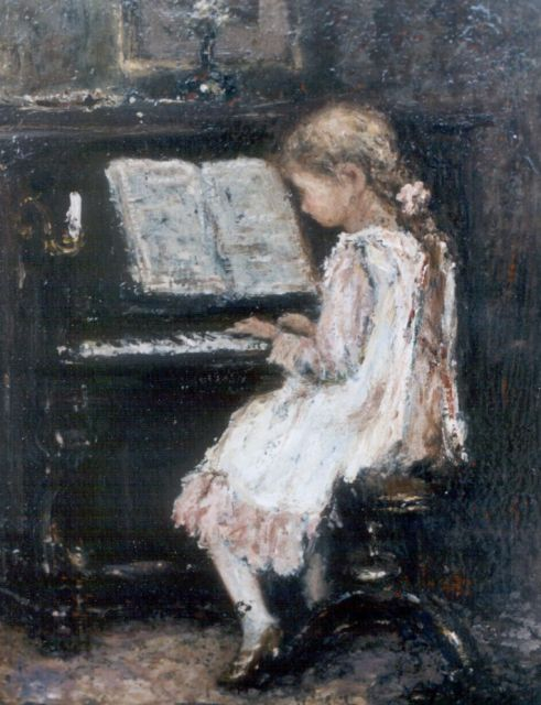 Jacob Maris | A girl playing the piano, oil on panel, 20.0 x 15.2 cm, signed l.r.