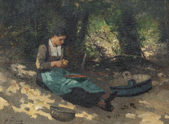 Weiland J.  | Peeling potatoes, oil on canvas 40.3 x 55.4 cm, signed l.l.