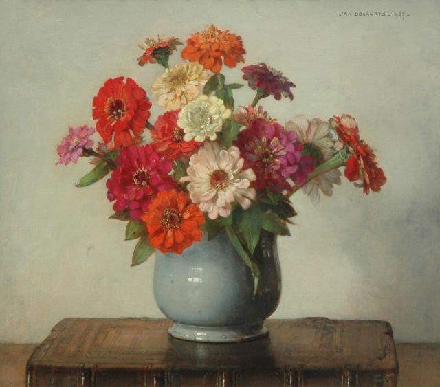 Jan Bogaerts | Zinnia in a glaced pot, oil on canvas, 40.4 x 45.3 cm, signed u.l. and painted 1937