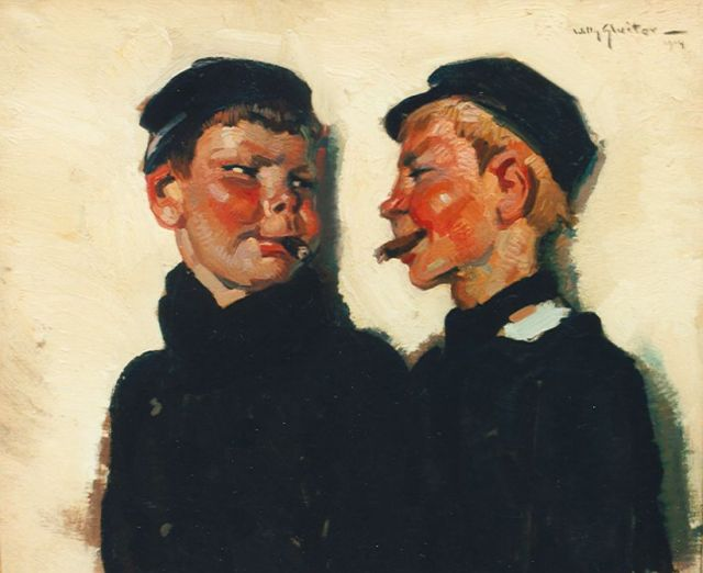 Sluiter J.W.  | Boys smoking cigars, oil on canvas laid down on panel 39.6 x 46.7 cm, signed u.r. and dated 1914