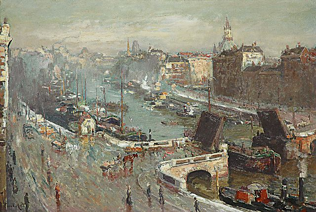 Evert Moll | A sunny December morning; the Leuvehaven in Rotterdam, oil on canvas, 49.9 x 74.3 cm, signed l.l.