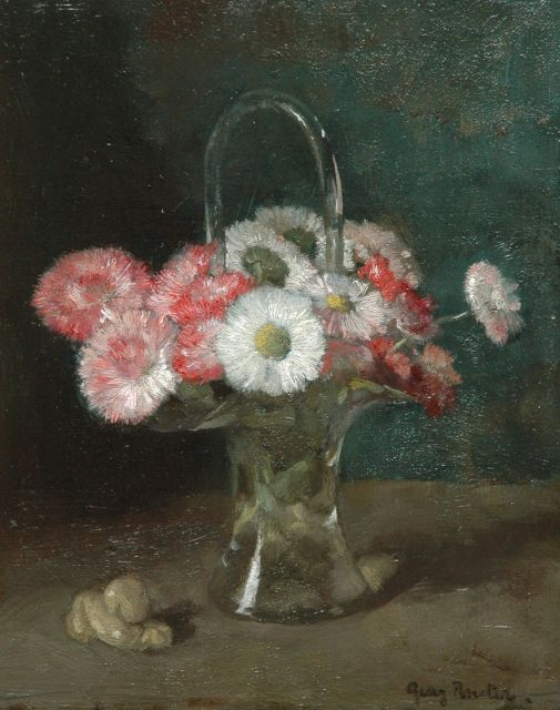 Georg Rueter | Flowers in a glass vase, oil on panel, 23.6 x 19.5 cm, signed l.r.
