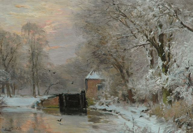 Louis Apol | A winter landscape with a lock, at sunset, oil on panel, 26.5 x 38.0 cm, signed l.l.