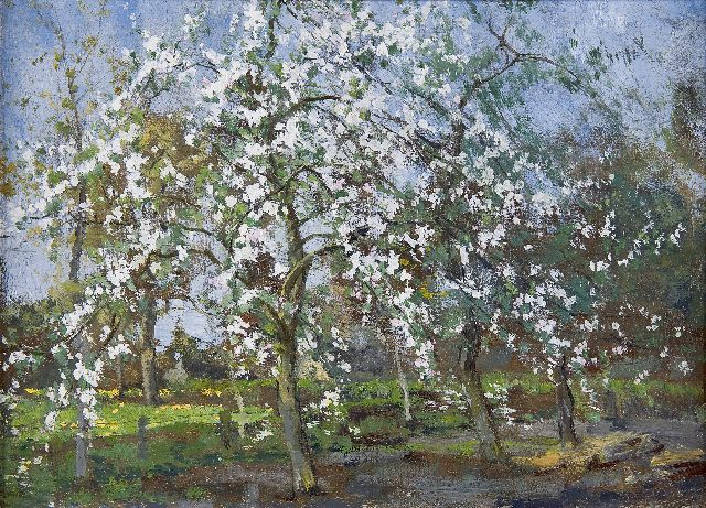 Arnold Marc Gorter | Apple trees in bloom, oil on panel, 26.4 x 36.6 cm, signed verso