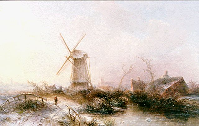 Pieter Kluyver | A winter landscape with windmill, oil on panel, 24.1 x 35.8 cm, signed l.l.
