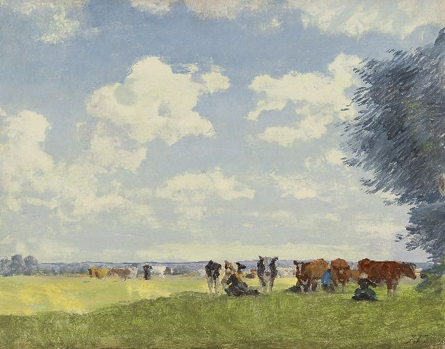 Jan Voerman sr. | Milking time in the shade, oil on panel, 32.3 x 41.2 cm, signed l.r. with initials